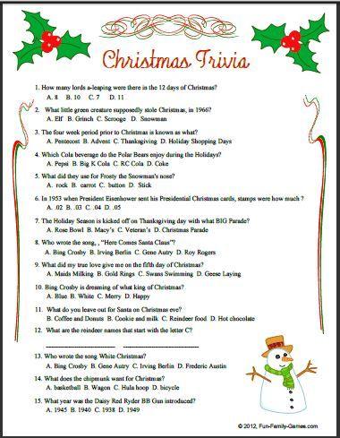 Christmas trivia for adults