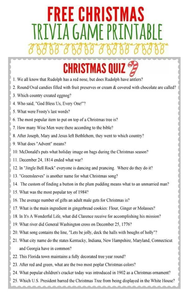 Interstate reccomend Christmas trivia for adults