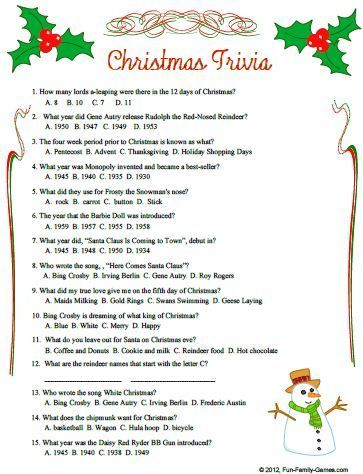 Susie Q. reccomend Christmas trivia for adults