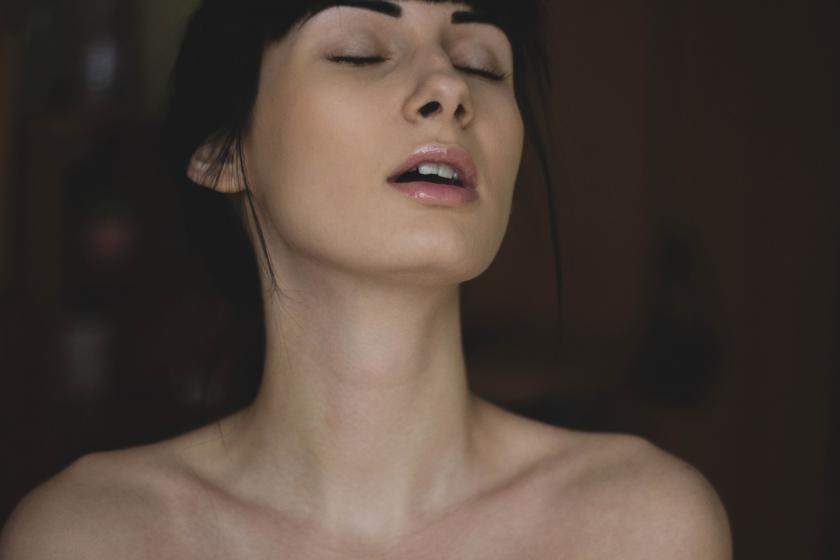Womans face during orgasm