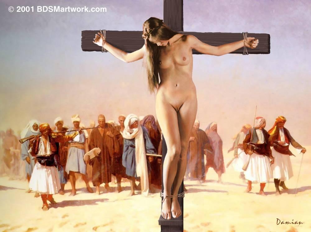 Nude female crucifixion art - Naked photo.