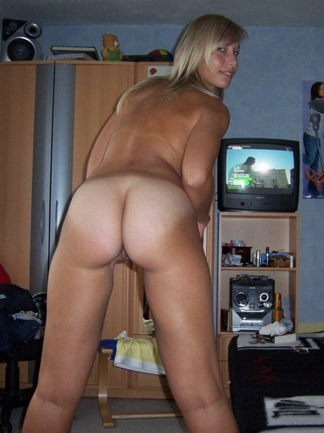 Nude girl smokes weed